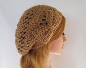 Crochet warm brown slouchy beanie beret tam with bow tie hat hair accessories  winter / spring / summer