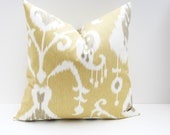 Throw Pillow Cover. Yellow and Tan Euro Pillow Cover. ONE 26x26 Ikat Pillow  printed fabric on front and back