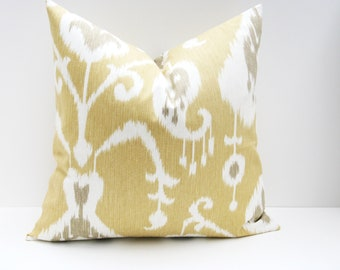 22x22 Throw Pillow Covers. Ikat Pillow. Gray Yellow Pillow. Decorative Pillows. Tan Pillow.Cushion covers Printed fabric on front and back