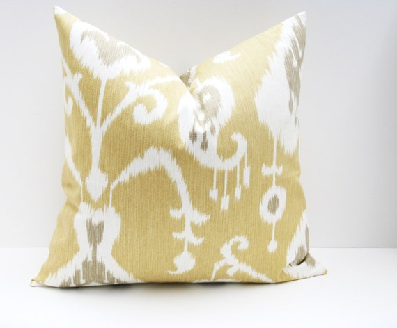 Throw Pillow Cover. Decorative Throw Pillows. 18x18 pillow covers. Tan Ikat Pillow ONE 18x18 printed fabric on front and back