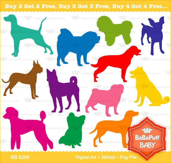Buy 2 Get 2 Free ---- Set 3 Dogs Silhouette ---- Personal and Small Commercial Use ---- BB 0209