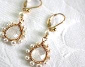 Gold Pearl Drop Earrings - Vintage Inspired Moonstone Dangle Earrings - Pearl Jewelry -  June Birthstone.