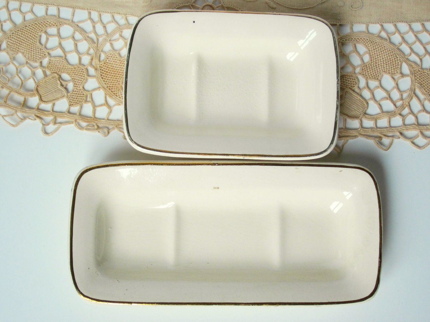 2 vintage french soap dishes ceramic bath set by 5littlecups - Ceramic soap dishes for bathrooms ...
