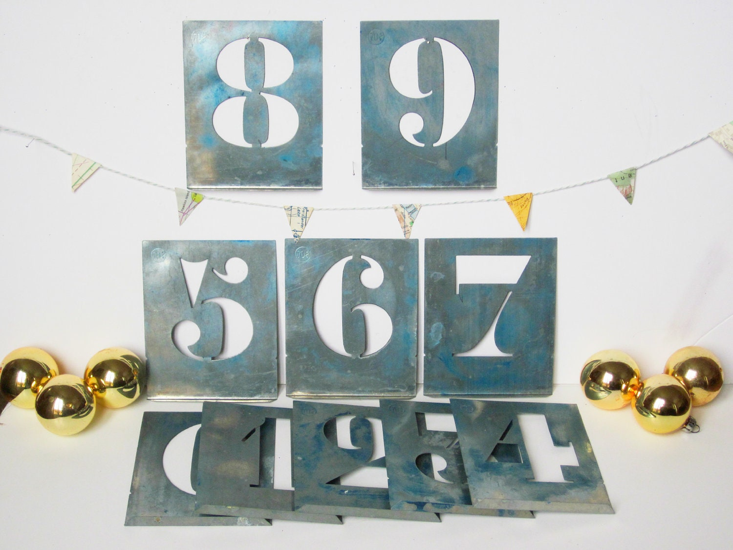 Vintage French Metal Numbers Stencils Home Decor Christmas