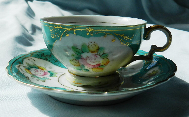 vintage tea cup and saucer made in japan. Black Bedroom Furniture Sets. Home Design Ideas
