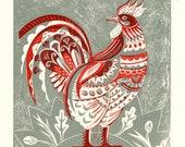 Cock - Relief / Letterpress Print