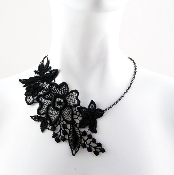 Black Flowers Lace Necklace One Sided Asymetrical for Women - Romantic, Feminine Fashion Piece