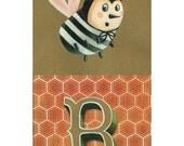 "Cute Bee Illustration for nursery - Illustration Print (11""x17"")"