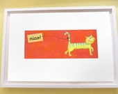 Cute cat illustration print on hot pink - Italian cat says: Miao - Would be great in kids room. Limited edition. - JaneySuperette