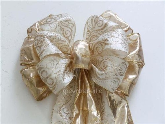 Ivory Gold Christmas bow Gold Ivory Christmas Wreath Bow Ivory Damask Gold Wedding Pew Bow Garlands Bow Wedding Chair Bows Gift Bows
