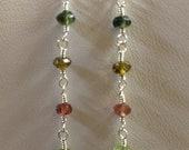 Multicolor tourmaline dangle earrings in sterling silver