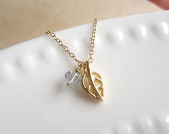 Leaf Necklace, tiny gold leaf with aquamarine swarovski crystal, dainty jewelry, minimalist jewelry