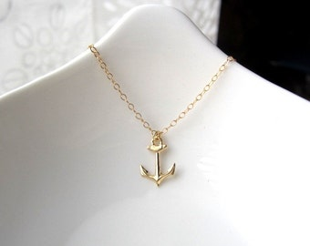 Tiny Anchor Necklace, gold anchor necklace, 14k gold filled anchor charm, nautical charm, minimalist jewelry, dainty jewelry