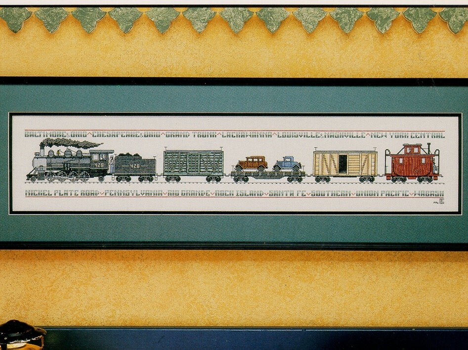Steam Engine Freight Train Cross Stitch Pattern By Patricia