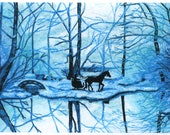 Horse Sleigh Card, Robert Frost Winter Greeting Card, 5x7 Art Print