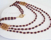Long Beaded Garnet Necklace, Red Burgundy, Antiqued Dark Gold Elements and Toggle Clasp
