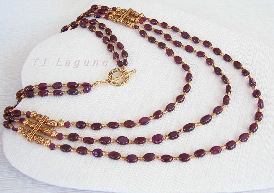 reserved listing for renee beaded garnet necklace