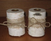Set of 2 White birch taper candle holders or peg votive cup holders decorated with burlap and twine bows.