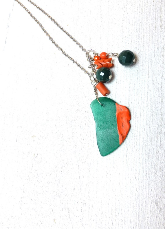 Sea Glass Necklace - Hand Painted Coral, Hunter Green Glass