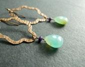 Peruvian Blue Opal Earrings - October Birthstone - Stunning Decorative Hammered Rose Gold Opal Earrings