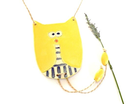 Yellow Modern Owl Boy Ornament Striped Trousers Eco Friendly Pottery Decoration