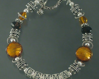 Murano Glass Mothers Name  Bracelet in Amber