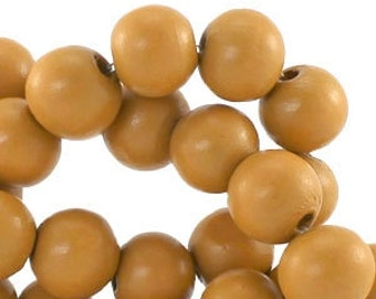 100 pc wooden beads round 6 mm Congac Brown