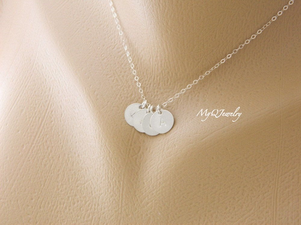 Personalized Four Initial Necklace Silver Disc By Myqjewelry