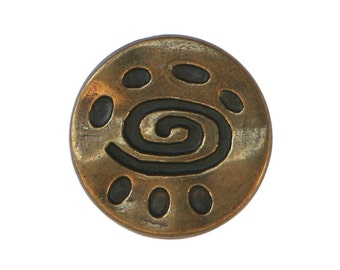 6 Spiral Glyph 11/16 inch ( 18 mm ) Metal Buttons Antique Brass Color