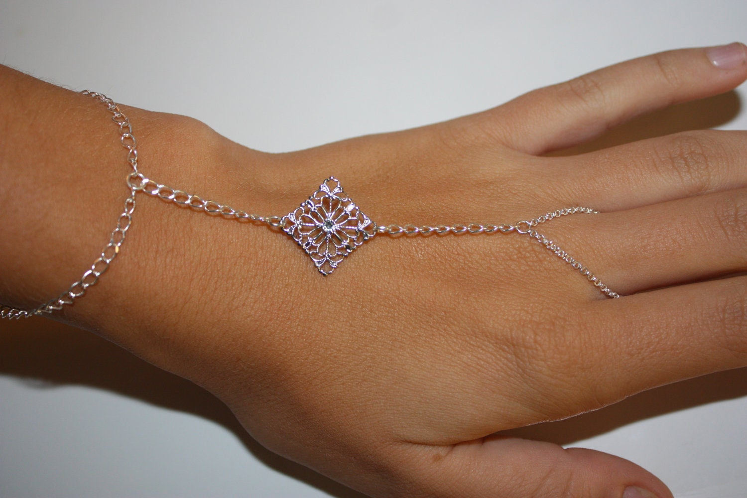 items similar to silver bracelet chain ring