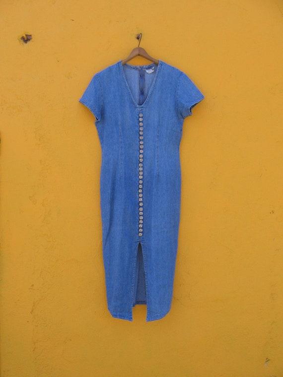 1980s light blue denim button up midi dress