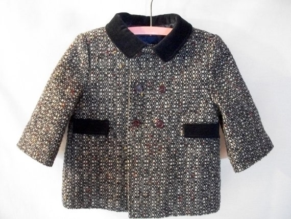 Vintage Little Boys Wool Blend Tweed Winter Dress Coat  Size 18 Months F.W. Fischer Designs Navy Blue Charcoal Grey Double Breasted Coat
