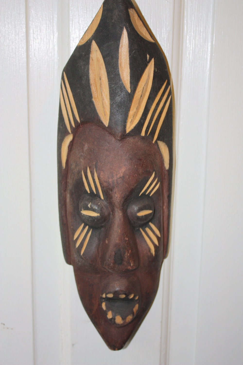 Vintage african hand carved face wood wall hanging ready to