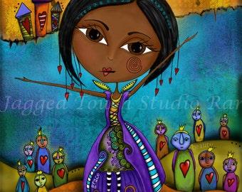 "Title: ""Beautiful Dance""  Inspirational colorful Giclee Art Print Wisdom Grace Beauty"