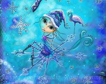 "Title: ""Winter's Journey"" - Inspirational colorful Giclee Matted Art Print."