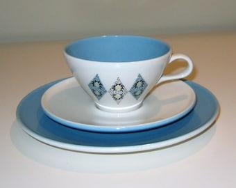 "Vintage ""Blue Diamonds"" Pattern Iroquois China Designed by Ben Seibel, 12 Piece Set"