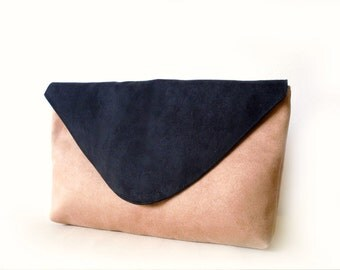 Large Envelope Clutch, Vegan suede, Color block, Tan and Black