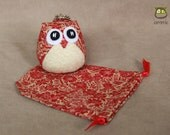 Lily - Owl Doll with a Bag: owl plush, owl decor, little, mini, kid, red, cream, flower, owl decoration, kawaii, chinese, china