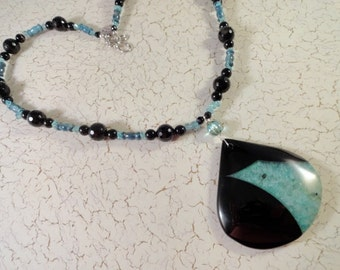 Druzy Geode Agate Necklace, Black Onyx, Faceted Banded Agate, Apatite Gemstone, Aqua, Silver, OOAK