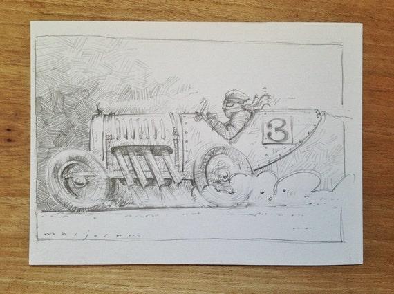 Advent Vintage Car Sketch - Pencil