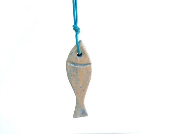 Fish necklace - ceramic pendant blue fish -fish art