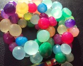 BEST SELLER Hot Rainbow Bright CHALCEDONY Faceted Onion Kiss Briolettes 6-10mm 5 Pieces...Colorful, Candy, Brides, Weddings...