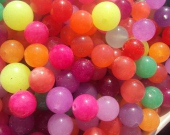 50% OFF SALE Neon Rainbow CHALCEDONY Smooth Round Beads 8-10mm 50 pieces...Pink, Green, Yellow, Orange, Aqua, Purple, Lavender