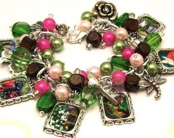 English Garden Charm Bracelet  Beaded Chunky Altered Art Picture Charms Beads Collage Bracelet Flower Garden
