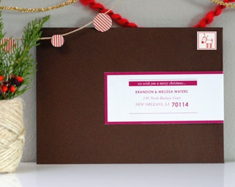 Personalized Holiday Wraparound Mailing Address Labels- Monroe - Sophisticated, Minimal, Modern, Trendy, Christmas, Easy, Fold Over