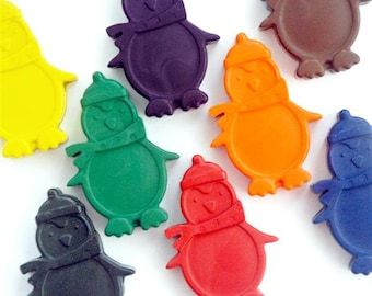 Penguin Crayons - Handmade Crayons - Gift for Kids - Animal Shaped Crayons - Set of 8 - Colouring Book - Penguin Party Favour