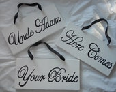 Classic Black and White 3 Piece Here Comes The Bride Sign Set