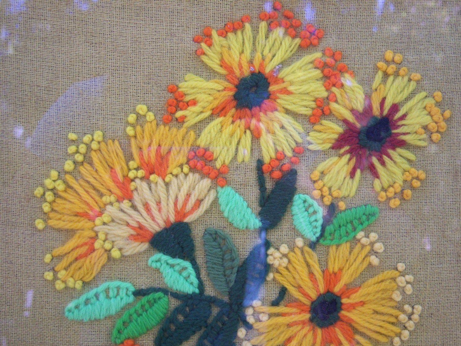 Vintage floral crewel embroidery by katzenfraulein on etsy