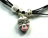 New Orleans Just In TIme Madi Gras Pink Carnival Mask Charm Necklace Pendant Pink Carnival Mask Charm Silver bead Pink Mask Ribbon Necklace