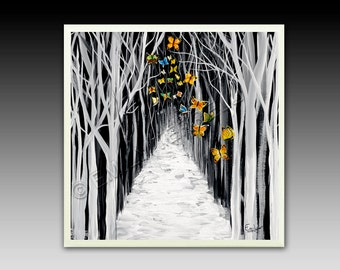 """Black and White Trees Butterflies - """"Solstice"""" Ceramic Tile with Hook"""